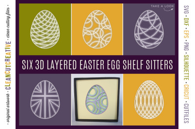3D layered EASTER EGG shelf sitters | shadow boxes | stacked paper SVG
