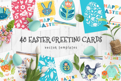 48 Easter greeting cards