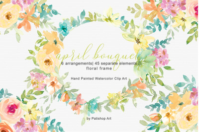 Pastel Spring Watercolor Floral Bouquets & Separate Elements Frame