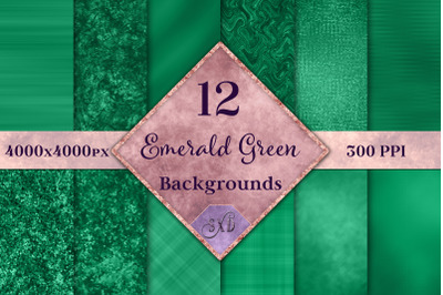 Emerald Green Backgrounds - 12 Image Textures Set