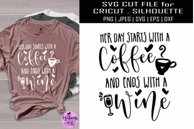 Her day starts with a coffee and ends with a wine svg