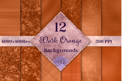 Dark Orange Backgrounds - 12 Image Textures Set