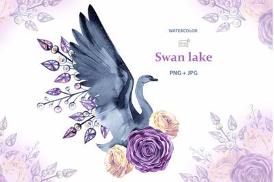 Watercolor swan cliparts