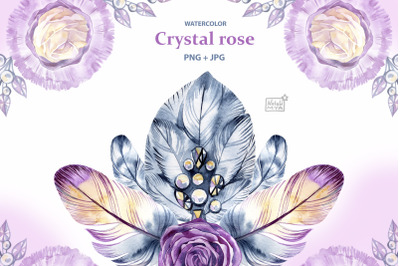Watercolor crystal roses cliparts
