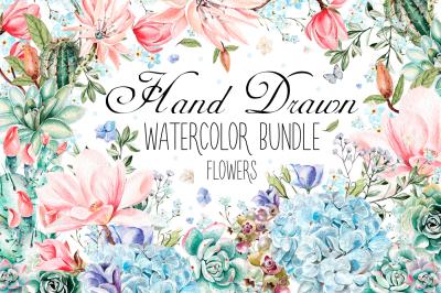 HandDrawn Watercolor Bundle FLOWERS3