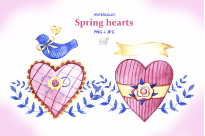 Watercolor spring hearts