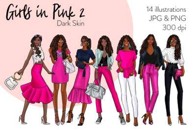 Watercolor Fashion Clipart - Girls in Pink 2 - Dark Skin
