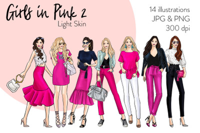 Watercolor Fashion Clipart - Girls in Pink 2 - Light Skin