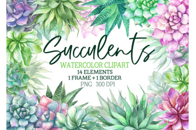 Back to listings Watercolor succulents clipart frame wreath