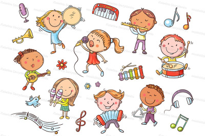 Kids with different musical instruments, playing music and singing