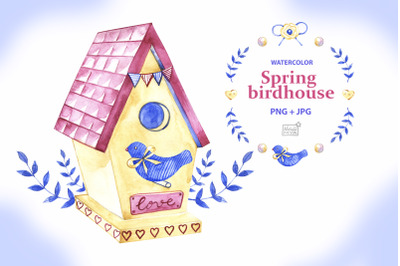 Watercolor birdhouse illustration