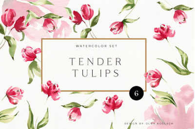 Watercolor Pink Tulips PNG clipart. Spring flowers individual clipart