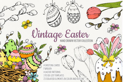 Hand drawn Vintage Easter. Vector set
