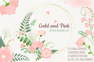 Gold&Pink. Vector floral set