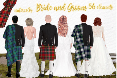Wedding clipart,Men in kilts clipart,Bride and Groom clipart
