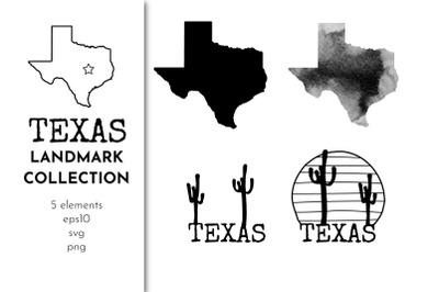 Texas map landmark collection