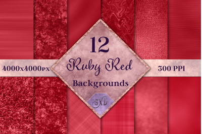 Ruby Red Backgrounds - 12 Image Textures Set