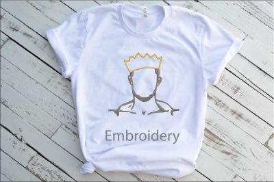 Embroidery Black King Man Life Respect Boss Kingdom Afro 2nb