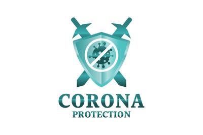 Coronavirus, shield, protection, immune vector symbol.