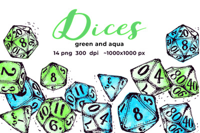 Green and aqua dices