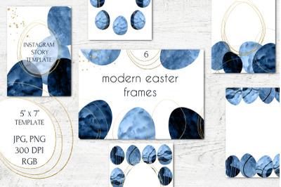 Blue and Gold Modern Easter frames