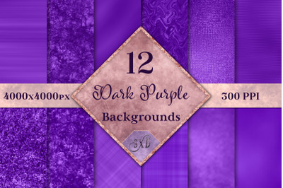 Dark Purple Backgrounds - 12 Image Textures Set