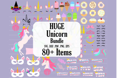 HUGE unicorn theme bundle, donuts, ice cream SVG,PNG,DXF,EPS