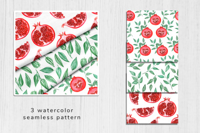 Watercolor pomegranate pattern 1