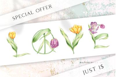 SALE Love Peace Spring Watercolor Tulip Bundle
