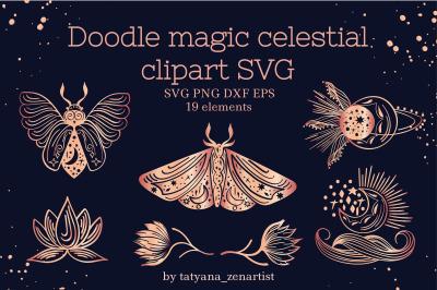 Doodle magic celestial clipart SVG