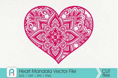 Heart Mandala Svg, Heart Svg, Zentangle Heart Svg, Heart
