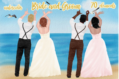 Wedding clipart Bride and Groom Wedding Invitation Bridal