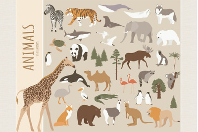 Abstract animals clipart