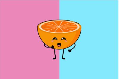 Kawaii Cute Orange Art Illustration