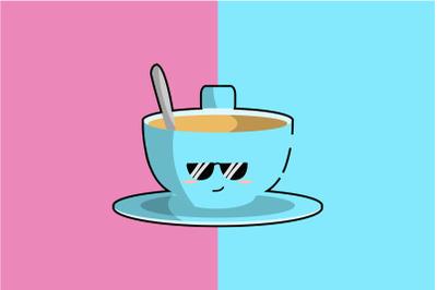 Kawaii Cute Cup Coffee Illustration