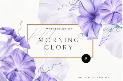 Watercolor Morning Glory Flower clipart. Blue morning glory flower