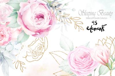 Sleeping Beauty Wedding Watercolor Bundle