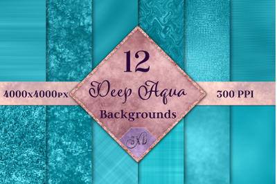 Deep Aqua Backgrounds - 12 Image Textures Set