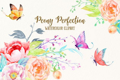 Watercolor Clipart Peony Perfection