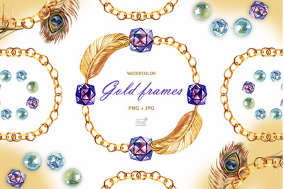 Watercolor gold chain wreaths