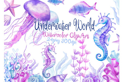Watercolor Underwater world clipart sea ocean
