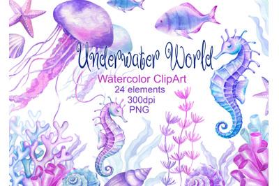Watercolor Underwater world clipart sea ocean