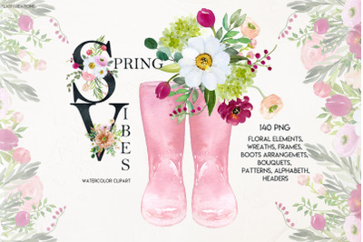 Spring Vibes. Watercolor  floral clipart