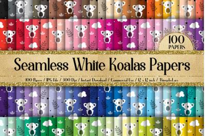 100 Seamless Cute Koalas Bear Kid Baby Shower Digital Papers