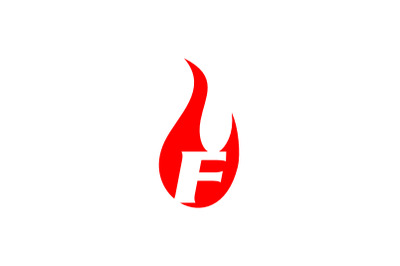 f letter flame logo