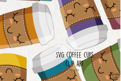 SVG Coffee Cups Clip Art. Coffee cup graphics. Set of 15 svg and png c