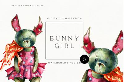 Printable girl nursery decor. Watercolor wall art with cute bunny