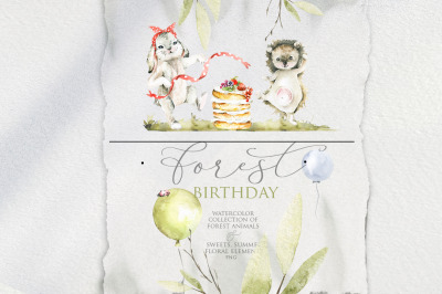 Forest birthday. Watercolor collection