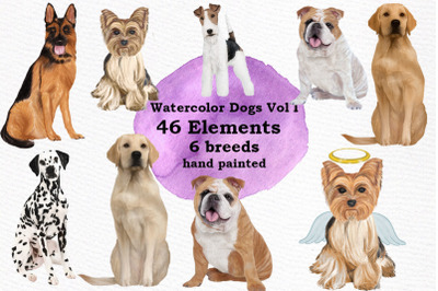 Dogs Clipart Dog breeds Pet clipart Watercolor dogs clipart