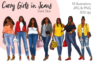 Watercolor Fashion Clipart - Curvy Girls in Jeans - Dark Skin